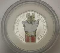 2018 The Tailor Of Gloucester Silver Proof 50p Coin Beatrix Potter Series