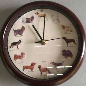 "VTG 8"" Dog Wall Clock Barks on the hour. Brown Round Analog Second Hand Quartz"