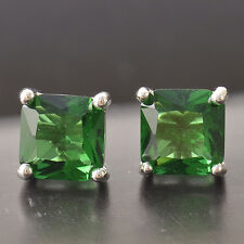 Fashion 18k White Gold Filled Square Emerald Womens Stud Earrings Holiday gift