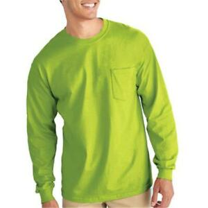Gildan Usa Inc G2410GRN-XL Adult Long Sleeve T-Shirt With Pocket - Safety Gre...