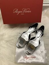 Roger Vivier Chips Strass Crystal-Buckle d'orsay Silver Flat Size 37