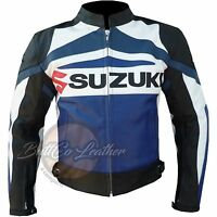 New Suzuki GSX Motorcycle Motorbike Biker Racing Original Leather Armour Jacket