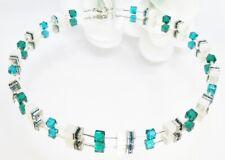 Kette Collier Cube Cat Eye weiß Kristallglas Strass Emerald Smaragd Teal 507m
