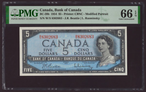 Canada🇨🇦1954 - $5 Dollars Beatie Rasminsky- PMG Gem UNC 66 EPQ **HIGH GRADE**