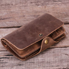 Men Crazy horse Genuin Leather Bifold Clip Middle Wallet ID Card Holder Purse