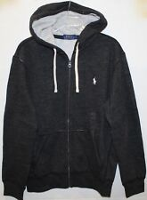 Polo Ralph Lauren Mens Black Heather Thermal Hoodie Sweat Jacket NWT $98 Size M