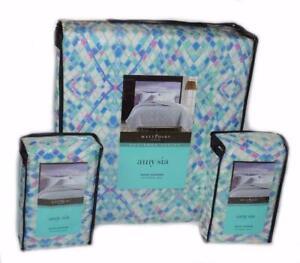 AMY SIA Pastel Diamond 3PC FULL/ QUEEN QUILT SET SHAMS Vivid Colors COTTON Blue