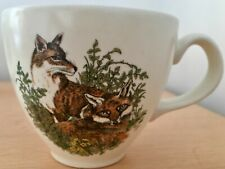 Two Vintage Carrigaline pottery Fox/wildlife cups and saucers - rare -