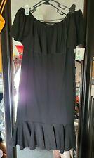 New Lularoe Cici Women's Dress Off Shoulder Solid Black waffle material 2X