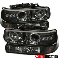 For 1999-2002 Chevy Silverado Smoke LED Halo Projector Headlights+Bumper Lamps