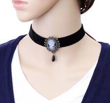 Vintage Victorian Gothic Black Velvet Cameo Pendant Choker Necklace