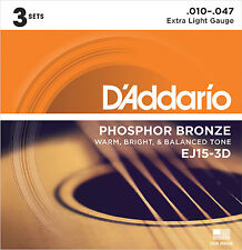 D'ADDARIO EJ15-3D PHOSPHOR BRONZE ACOUSTIC GUITAR STRINGS - 3 PACK, EXTRA LIGHT