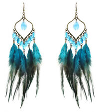 bronze leaf dangle hook ornament F2346 Multi-Color downy Feather earrings bead