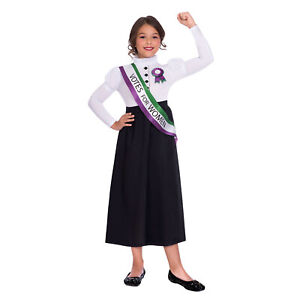 Child Victorian Pankhurst Suffragette Girl Fancy Dress Costume Politics New