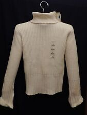 NWT Sweater Turltleneck White Cowl Neck Ribbed Cotton Knit High Neck Top Shirt M