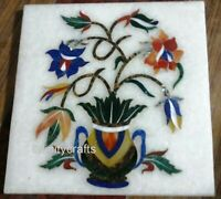 15 x 15 Inches Marble Inlay Coffee Table Top White Wall Panel Flower Pot Design