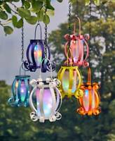 Solar Scroll Lantern Colorful Multicolored Lights Hanging or Tabletop Yard Patio