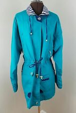 Current Seen Vintage Windbreaker Jacket Turquoise Green Pockets Drawstring Waist