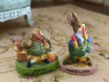 Vintage Miniature Dollhouse Artisan Porcelain Pair France Peter Rabbit Figurines