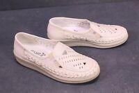 C989 Leve Damen Schuhe Slipper Leder beige Gr. 38 Lochmuster Keilabsatz neu