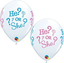 """He? or She? Gender Reveal Baby Shower Latex Balloons X 5 11 """" Qualatex"""