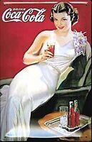 Coca Cola Deko Mädchen Geprägte Stahl Zeichen 300mm x 200mm (Hi )