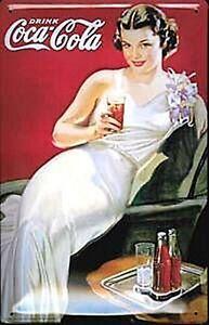 Coca Cola Deco Girl Embossed Steel Sign 300mm x 200mm (hi)