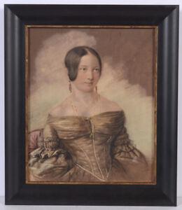 "Gottlob Berger ""Portrait of a young Berlin lady"", fine pastel, 1840"