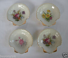 *VTG* SET OF 4 GLOSSY, SHELL SHAPED CANDY DISHES-With FLOWERS & GOLD-JAPAN