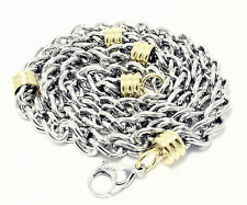 Steel Necklace 24 Inches 8.5mm Jewelry Mens Chain Silver Yellow Color Stainless