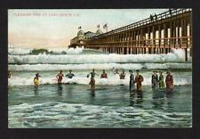 Vintage postcard Pleasure Pier Long Beach, CA. swimmers in ocean