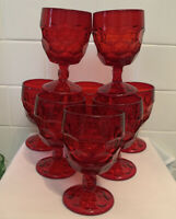 8 VINTAGE MCM VIKING RUBY RED GEORGIAN GLASS  WATER ICE TEA GOBLETS