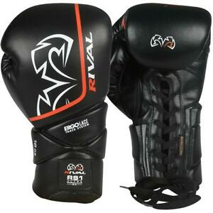 Rival Boxing RS1-2.0 Ultra Sparring Gloves Lace Up Black Bag Pads Mitts Training