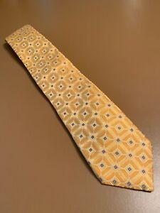"euc Ike Behar New York Men's Thick Yellow Gold Geometric Silk Tie 59"" 3.75"""