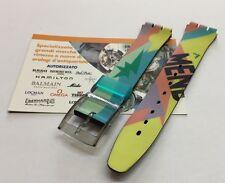 Cinturino in plastica Swatch fantasia colorata originale attacco 17mm