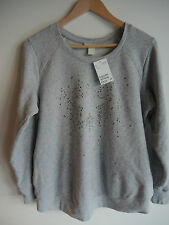 Awesome H & M MAMA MATERNITY Sweater Top  XL Grey w Silver Star Stud Detail NEW