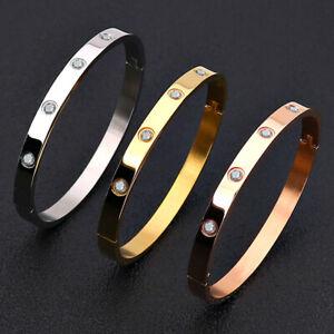 Men Women CZ Crystal Stainless Steel Bangle Bracelet Rose Gold/Gold/Silver