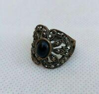 Very Rare Ancient Ring Roman Bronze Black Stone Authentic Artifact Very Stunning