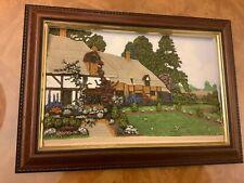 Vintage Friar Crafts 3 D hand painted Rose Cottage Devon signed D Pearson 1989