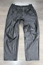 "Vintage Black Leather Riding Biker Motorcycle Trousers Pants Jeans Size W33"" L28"