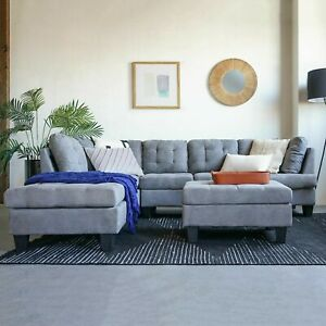 2 Piece Modern Large Tufted Grey Microfiber Sectional Sofa Brand New