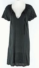 Old Navy NEW $37 XS Black SS Perforated Edges Rayon Linen Polyester Dress G349