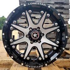 "20"" Black Brushed Face Lonestar Bandit Wheels Chevy Truck 20x9 6x139.7 6x5.5 GMC"