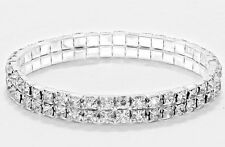 NEW Double Row Stretch Tennis Bracelet w 2 Rows Clear Crystal Swarovski Crystals
