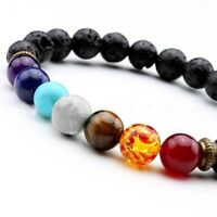 7 Crystal Bead Natural Lava Chakra Bracelet Reiki Gemstone Jewellery & Gift Bag
