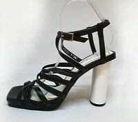 NWT $139 Zara Women's Shoes Leather Heels Strappy Square Toe Black White Size 40