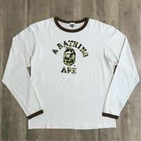 A BATHING APE Kaws New York College Logo Long sleeve TEE Size L 1st camo Rare
