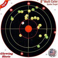 """100 Pack SHOOTING TARGETS Glow Shot Reactive Splatter Gun Rifle 7"""" Paper Target"""
