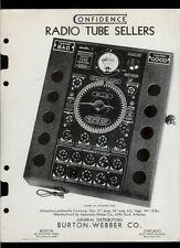 Super Rare 1928 Burton Webber Confidence Radio Vacuum Tester Catalog Brochure