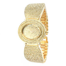 Alias Kim Oval Gold Crystal Face Steel Bracelet Women Fashion Bangle Watch F152